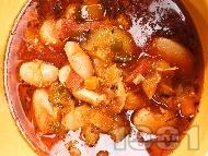 Рецепта Бобена чорба / супа с джанки, пресен лук, чушки, моркови и доматено пюре